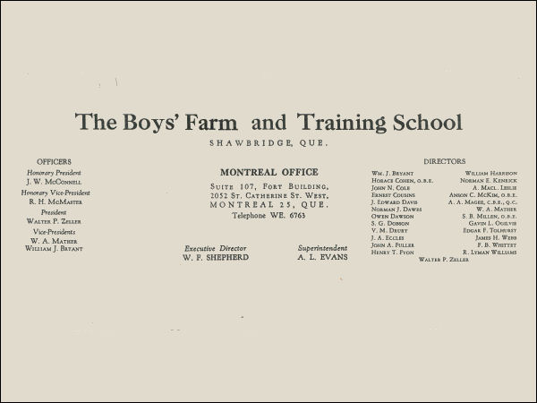 Shawbridge Boys Farm and Training School logo - 1955
