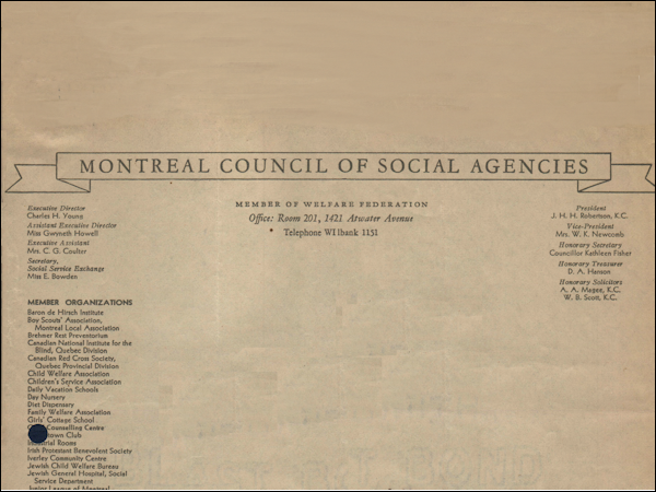 Montreal Council of Social Agencies, 1945