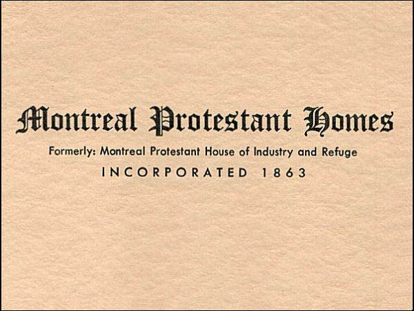 Montreal Protestant Homes, 1960