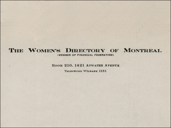 Women's Directory of Montreal, 1945